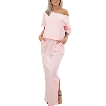 Zarupeng Frauen Lange Maxi Abendkleider, Sommer Kurzarm Kleid mit Tasche Lose Strandkleider Damen Tunikakleid Elegant A-Linie Partykleider (XL, Rosa) - 1