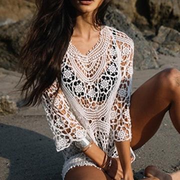 Zarupeng Spitze Beach Cover Up, Crochet Bikini Bademode Kleid Damen Badeanzug Vertuschen Strand Bluse Perspektive Rückenfrei Minikleid Strandkleid (One Size, Weiß) - 5