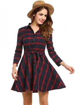 Zeagoo Damen 3/4 Ärmel Kleid Kariertes Kleid Shirtkleid Blusenkleid Tartan Karo Kleid Skater A Linie Knielang mit Gürtel (EU 42(Herstellergröße:XXL), Rotblau) -