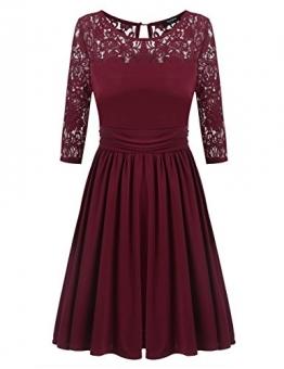 Zeagoo Damen 3/4 Ärmeln Abschlusskleider A-Linie Kleid Rundhals Partykleid Ballkleid mit Spitze -