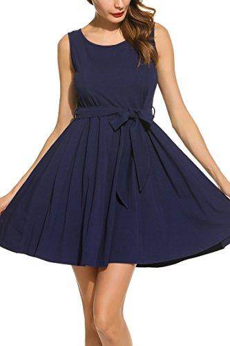 Zeagoo Damen Ärmellos Brautjungfernkleid Partykleid Prinzessin Hochzeit Kleid A-Linie Marine M -