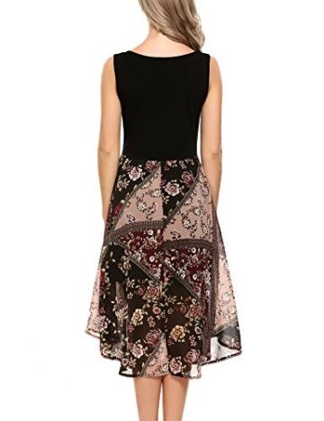 Zeagoo Damen Casual Kleid mit Blumendruck Knielang Ärmellos Chiffon Rockteil in 4 Farben (EU 38 (M), Schwarz2) -
