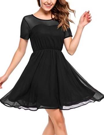 Zeagoo Damen Chiffon Kleid Elegant Sommerkleid Partykleid Festliches Kleid A-Linie Knielang Schwarz XXL - 1