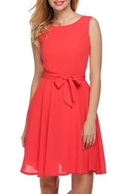 Zeagoo Damen Chiffon Kleid Partykleid Cocktailkleid Rot S -