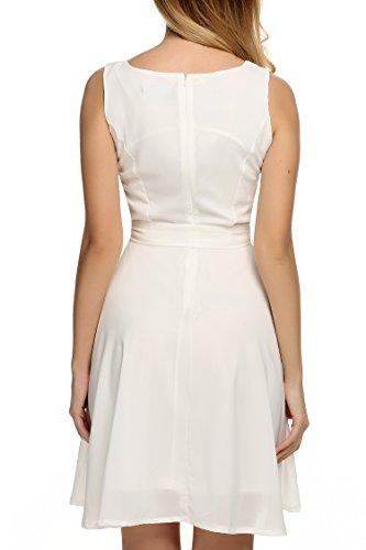 Zeagoo Damen Chiffon Kleid Prinzessin Kleid Weiß -