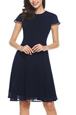 Zeagoo Damen Elegant Chiffonkleid Sommerkleid Partykleid Hochzeit Festliches Kleid A Linie Kurzarm Knielang Blau L -