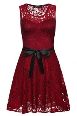 Zeagoo Damen Elegant Cocktailkleid Blumen Spitzenkleid Festliches Party Kleid Kurz Freizeitkleid mit Gürtel (EU 38 (Herstellergröße:M), Weinrot(neu)) -
