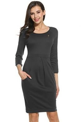 Zeagoo Damen Elegant Kleid Etuikleid Freizeitkleid Strickleid Casual Kleid 3/4 Ärmel Rundhals Knielang Grau XL -