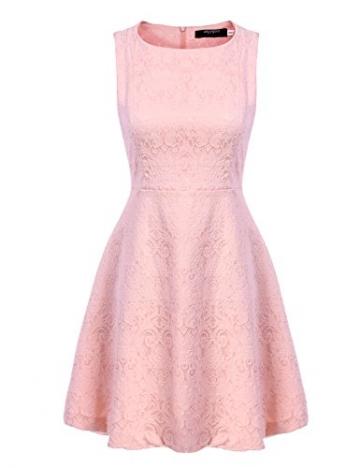 Zeagoo Damen Elegant Partykleid Festliche Kleider Jacquard Kleid mit ausgestelltem Saum (EU 36(Herstellergröße:S), Rosa) -