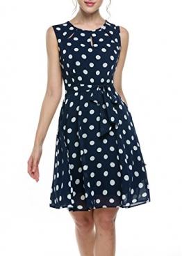 Zeagoo Damen Elegant Strandkleid Chiffonkleid A-Linie Bedrucktes Kleid mit Punkten Gürtel -