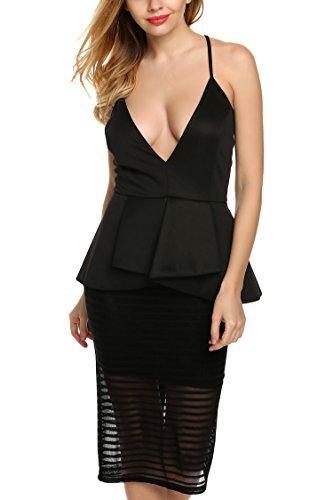 Zeagoo Damen Fashion Hot Sexy Kleid Partykleid Clubwear Schwarz S -