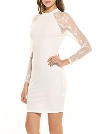 Zeagoo Damen Jerseykeid mit lange Spitzenärmeln Spitze Patchwork Stehenkragen Etuikleid (Weiß, M) -