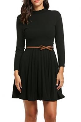 Zeagoo Damen Rollkragen Plissee Kleid Langarmkleid Business Kleid Partykleid A-Linie Kleid mit Gürtel (EU 42(Herstellergröße:XL), Schwarz) -
