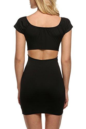 Zeagoo Damen Sexy Bodycon Clubwear Trägerloses Kleid Partykleid Schwarz -