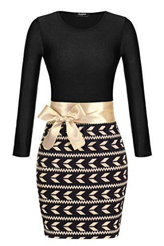 Zeagoo Damen Sexy Bodycon Clubwear Kleid Casual Dress Patchwork Mini Rock - 1