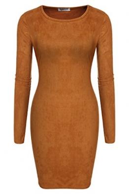 Zeagoo Damen Sexy Bodycon Kleid Langarm Minikleid Rundhals - 1