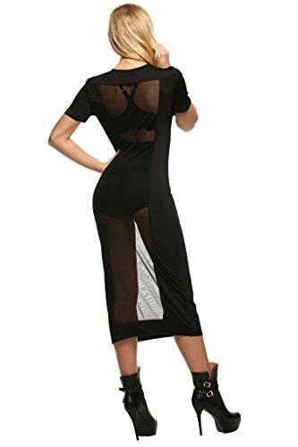 Zeagoo Damen Sexy Bodycon Kurzsam Kleid Lang Partykleider Mesh Patchwork Durchsitig Clubwear -