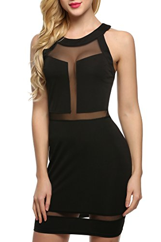 Zeagoo Damen Sexy Bodycon Minikleid Mini Dress Mit Mensh - 1
