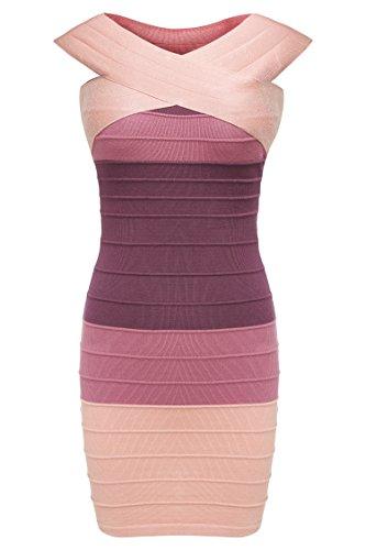 Zeagoo Damen Sexy Bodycon Schulterfrei Bandage Stretch Kleid Miniklleid Strickkleid - 1