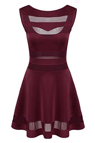 Zeagoo Damen Sexy Kleider Party Kleid Elegant Weinrot L -