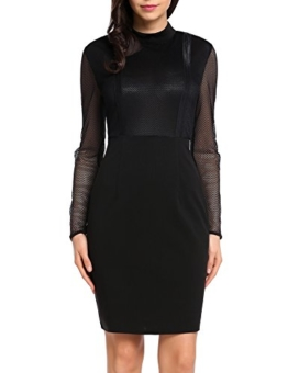Zeagoo Damen Sexy Partykleid Knielang Abendkleider Patchwork Mesh Durchsitig Clubwear - 1