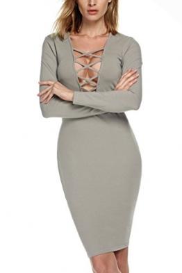 Zeagoo Damen Sexy Tief V-Ausschnitt Bodycon langarmkleid Bandage Kleid Partykleid -