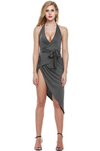 Zeagoo Damen Sexy V-Ausschnitt Sommerkleid Bodycon Rückenfrei Bandage Kleid Neckholder Partykleid Clubwear (EU 42/XL, Grau) - 1