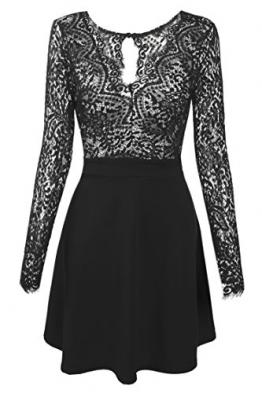 Zeagoo Damen Sexy V-Ausschnitt Spitzenkleid Floral Rückenfrei Cocktailkleid Partykleid Skaterkleid (EU 38/ M, Schwarz) -
