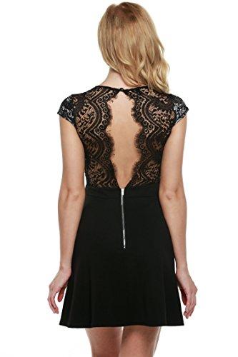 Zeagoo Damen Sexy V-Ausschnitt Spitzenkleid Floral Rückenfrei Cocktailkleid Partykleid Skaterkleid (EU 40/ L, Schwarz-1) - 1
