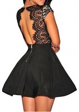 Zeagoo Damen Sexy V-Ausschnitt Spitzenkleid Floral Rückenfrei Cocktailkleid Partykleid Skaterkleid (EU 38/ M, Schwarz-1) -