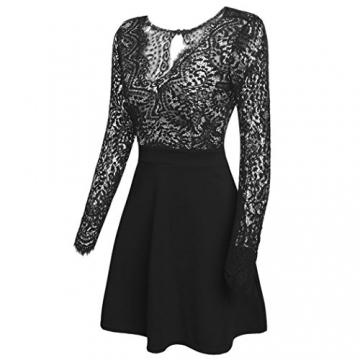 Zeagoo Damen Sexy V-Ausschnitt Spitzenkleid Floral Rückenfrei Cocktailkleid Partykleid Skaterkleid (EU 36/ S, Schwarz) -