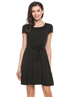 Zeagoo Damen Skater Jerseykleid A Linie Kurzarm Kleid mit Blumenmuster Gürtel Schwarz S -