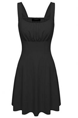 Zeagoo Damen Sommerkleid Strandkleid Minikleid Kurzes Kleid Schwarz -