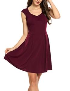 Zeagoo Damen Sommerkleid Vintage Ärmellos Minikleid A Linie Kurz Klassisches Kleid V-Ausschnitt mit Falten - 1