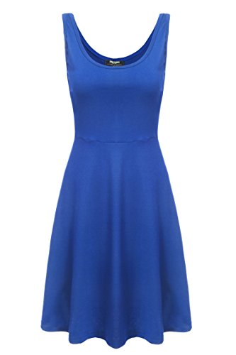 Zeagoo Damen Strandkleid Sommerkleid Tank Kleid Ausgestelltes Trägerkleid Knielang (EU 38/ M, Blau) -