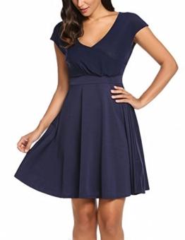 Zeagoo Damen V Ausschnitt Sommerkleider Wickelkleid Skaterkleid Kurzarm Stretch Casual Kleid A Linie Knielang Blau XL - 1