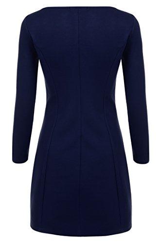 Zeagoo Damen Winter Herbst Stretch Kleid Minikleid Langarmkleid A-Linie - 2