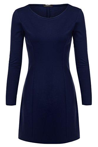 Zeagoo Damen Winter Herbst Stretch Kleid Minikleid Langarmkleid A-Linie - 1