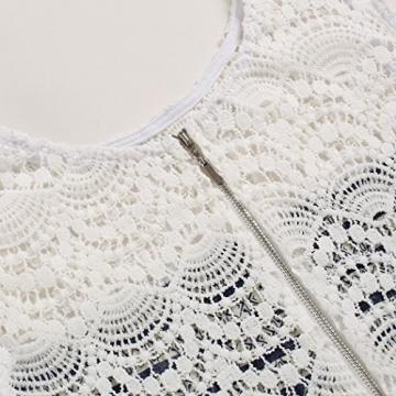 ZEARO Sommer Damen Minikleid Tunika Strandkleid Hohle Spitze Druck Kurz Kleider -