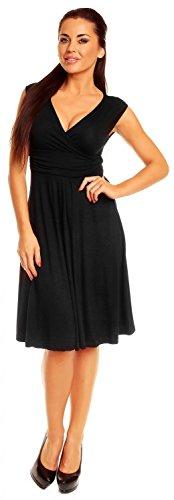 Zeta Ville Damen Ärmelloses Tageskleid Cocktail Sommer Kleid Gr. 36-46 256z (Schwarz, EU 38, M) -