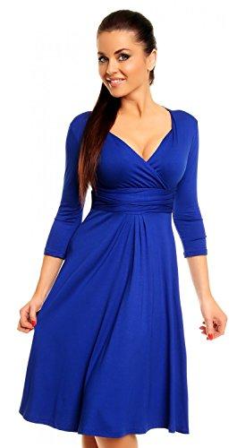Zeta Ville Damen Ausgestellter Schnitt Swing-Kleid Sommerkleid Cocktailkleid 282z (Königsblau, 36) -