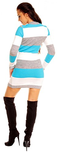 Zeta Ville - Damen Figurbetonte Longpullover Pulloverkleid Blockfarben - 405z (Türkis, ONE SIZE EU 36/38/40) -