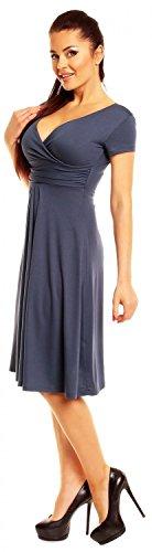 Zeta Ville - damen - Jersey Kleid - Kurzarm - Sommerkleid - Cocktailkleid - 108z (Blau Grau, EU 40, L) -