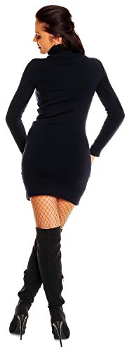 Zeta Ville - Damen Strick-kleid mit Rollkragen - Minikleid mit Stehkragen - 888z (Marine, 36/40) - 4