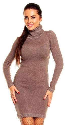 Zeta Ville - Damen Strick-Kleid mit Rollkragen - Minikleid mit Stehkragen - 888z (Cappuccino, 36/40) - 1
