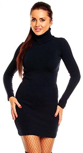 Zeta Ville - Damen Strick-kleid mit Rollkragen - Minikleid mit Stehkragen - 888z (Marine, 36/40) - 1