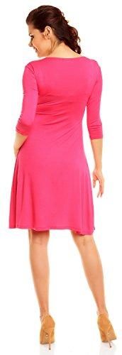 Zeta Ville Damen Umstandsmoden-Shirtkleid Umstandskleid Sommerkleid 282c (Fuchsie, 40) -