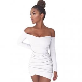 ZhiYuanAN Sommer Damen Bodycon Minikleid Sexy Wort Schulter Langärmelige Rock Kleid Unregelmäßige Falten Paket Hüfte Schulterfreie Kleider Weiß L -