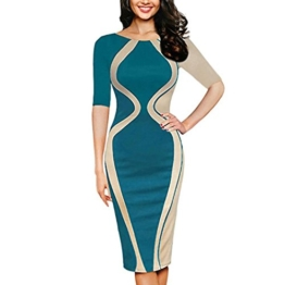 ZIYOU Kleid Damen/Slim fit Bodycon Abendkleid, Frauen Kurzarm Partykleid Cocktailkleid Elegant Festkleid Bleistift Minikleid (Grün, 4XL) - 1