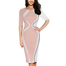 ZIYOU Kleid Damen/Slim fit Bodycon Abendkleid, Frauen Kurzarm Partykleid Cocktailkleid Elegant Festkleid Bleistift Minikleid (Rosa, 5XL) - 1